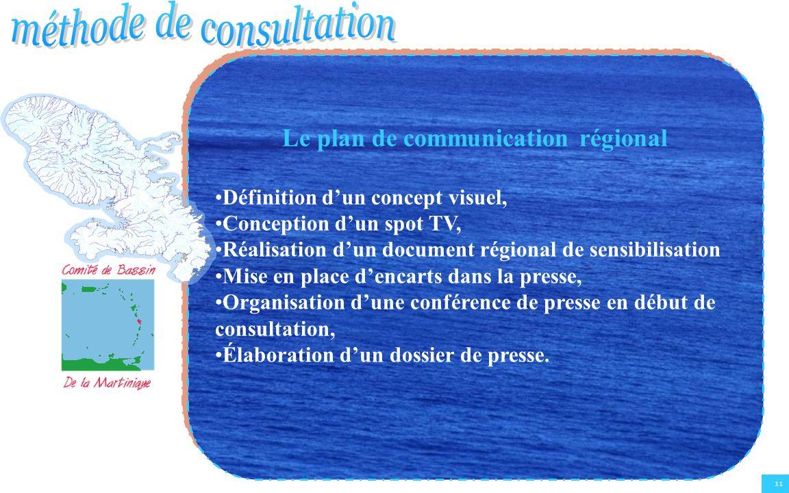 11 Le plan de communication régional Définition dun concept visuel, Conception dun spot TV, Réalisation dun document régional de sensibilisation Mise