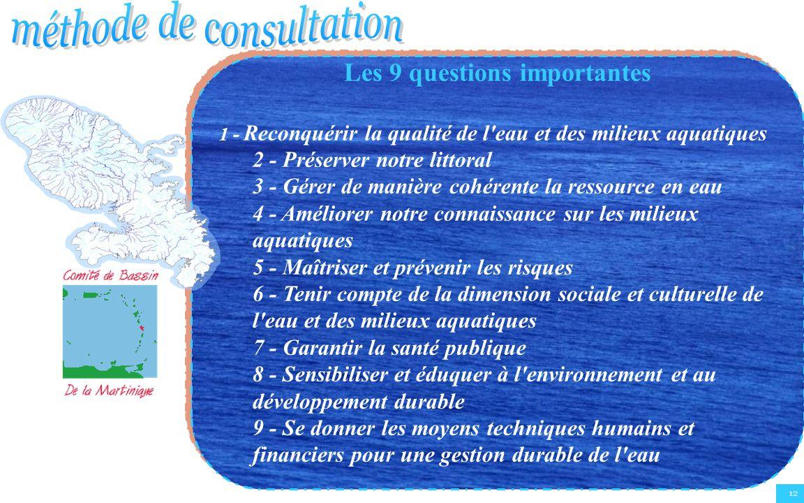 12 Les 9 questions importantes 1 - Reconquérir la qualité de l'eau et des milieux aquatiques 2 - Préserver notre littoral 3 - Gérer de manière cohéren