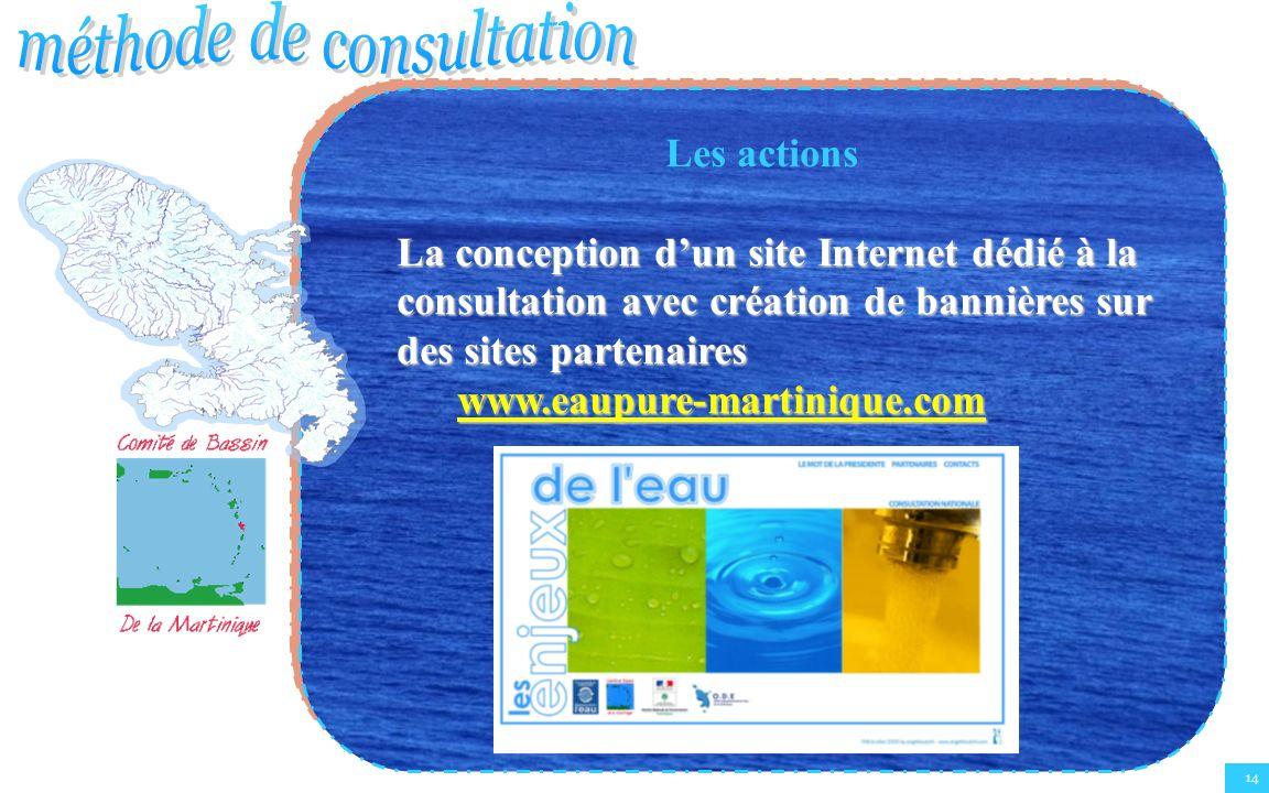14 Les actions La conception dun site Internet dédié à la consultation avec création de bannières sur des sites partenaires www.eaupure-martinique.com