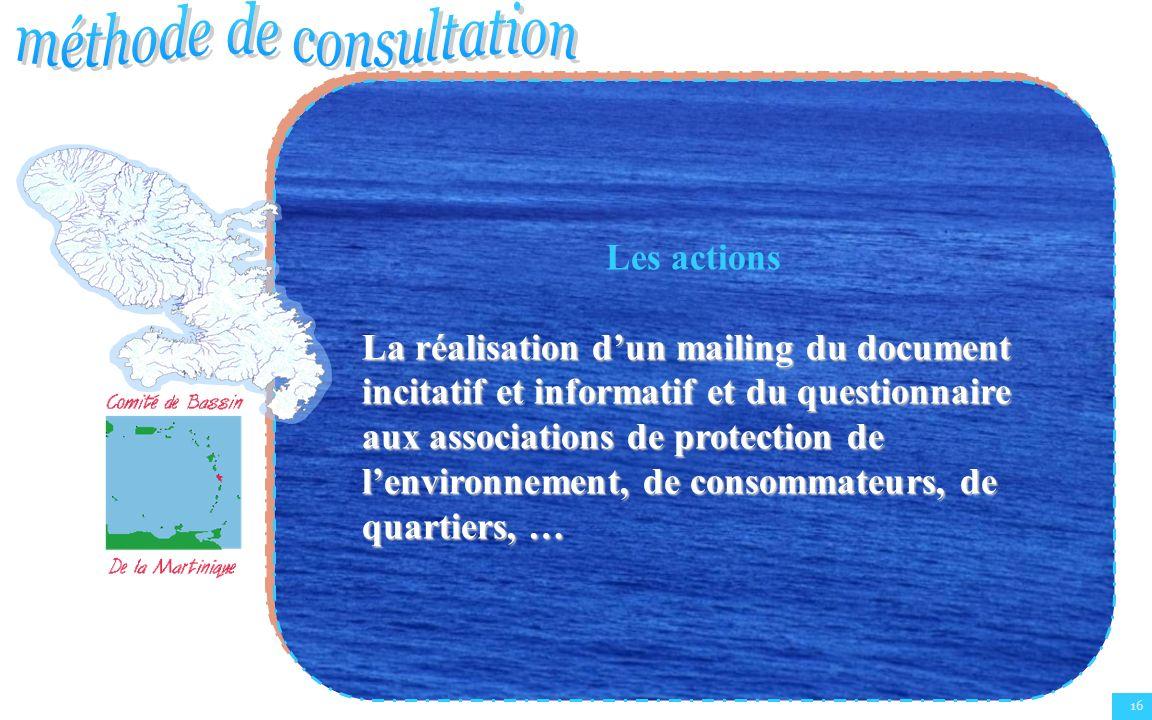 16 Les actions La réalisation dun mailing du document incitatif et informatif et du questionnaire aux associations de protection de lenvironnement, de