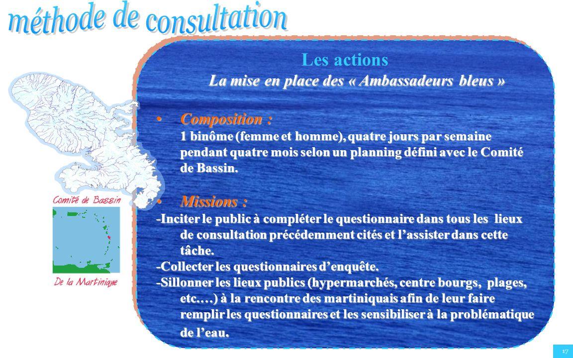 17 Les actions La mise en place des « Ambassadeurs bleus » Composition :Composition : 1 binôme (femme et homme), quatre jours par semaine pendant quat