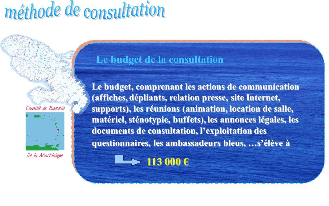 Le budget de la consultation Le budget, comprenant les actions de communication (affiches, dépliants, relation presse, site Internet, supports), les r