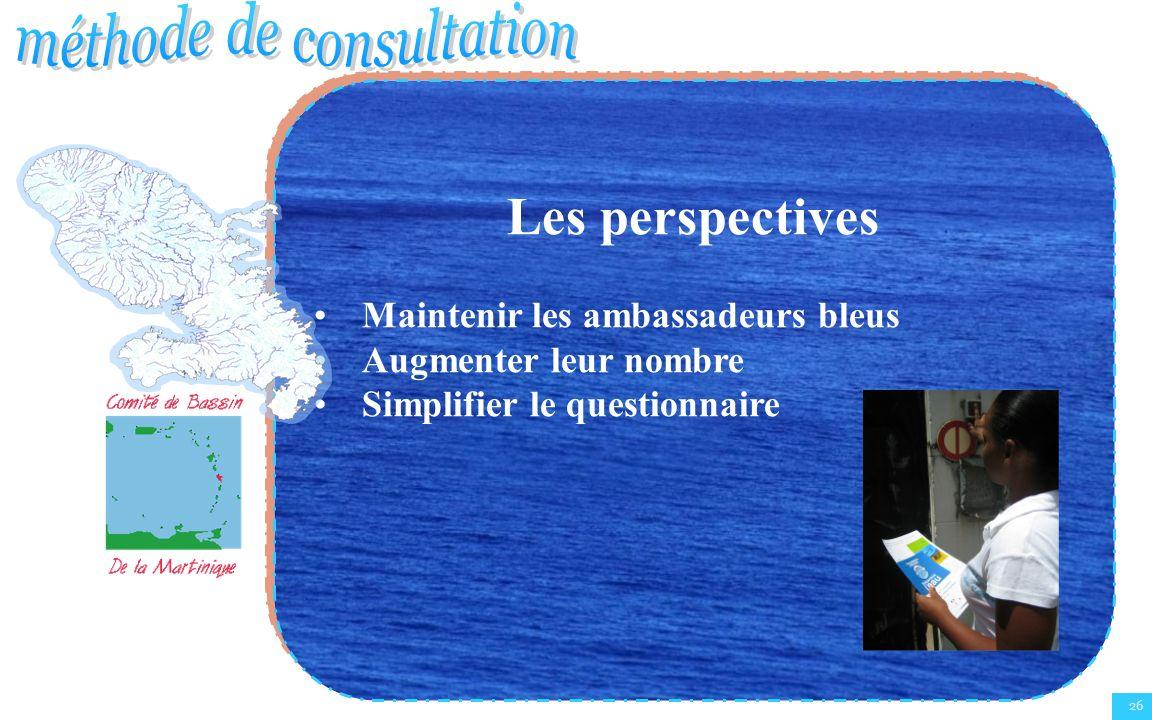 26 Les perspectives Maintenir les ambassadeurs bleus Augmenter leur nombre Simplifier le questionnaire Les perspectives Maintenir les ambassadeurs ble