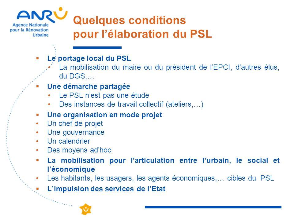 Quelques conditions pour lélaboration du PSL Le portage local du PSL La mobilisation du maire ou du président de lEPCI, dautres élus, du DGS,… Une dém