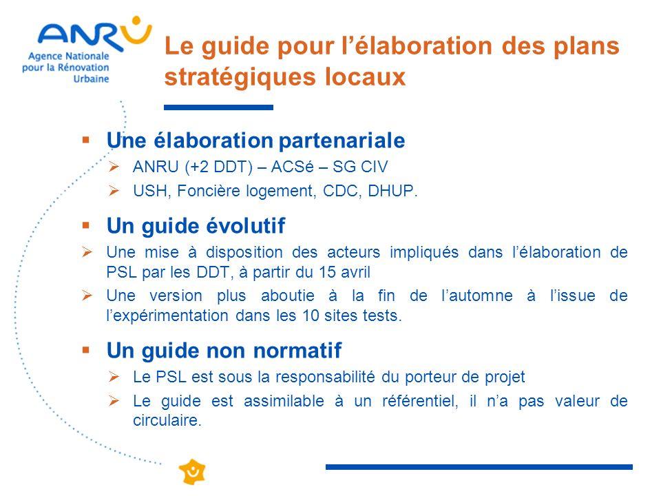 Le guide pour lélaboration des plans stratégiques locaux Une élaboration partenariale ANRU (+2 DDT) – ACSé – SG CIV USH, Foncière logement, CDC, DHUP.