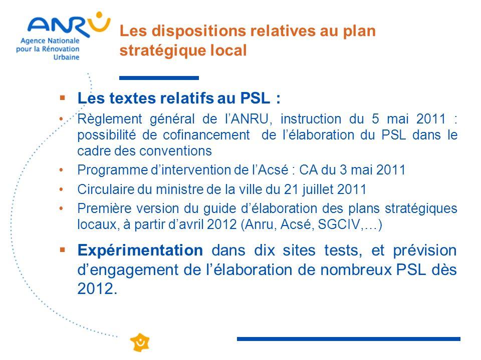 Les dispositions relatives au plan stratégique local Les textes relatifs au PSL : Règlement général de lANRU, instruction du 5 mai 2011 : possibilité