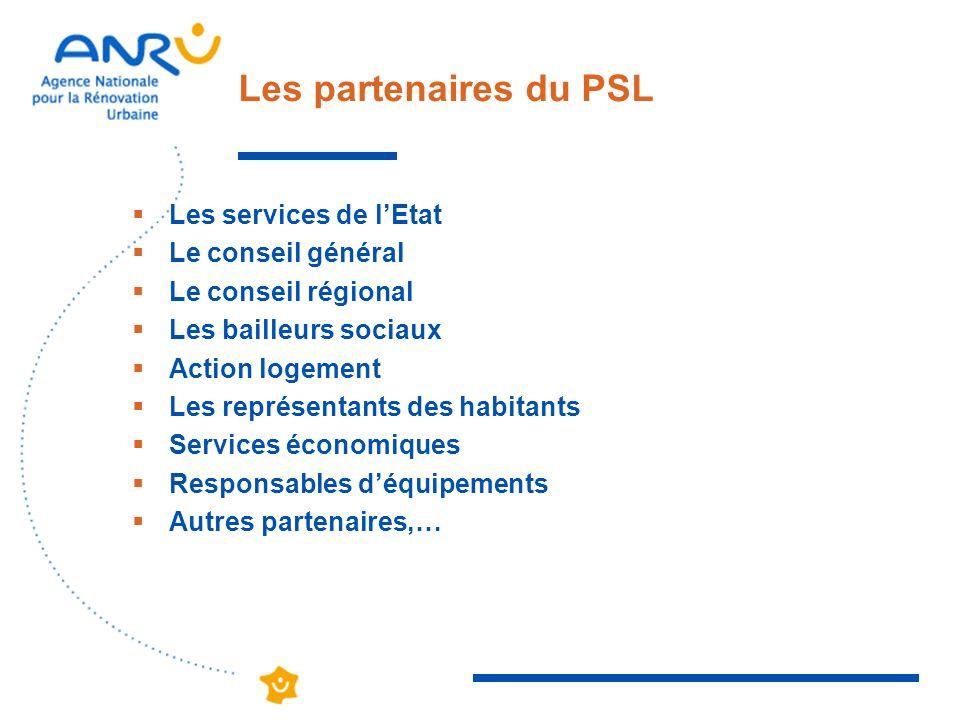 Les partenaires du PSL Les services de lEtat Le conseil général Le conseil régional Les bailleurs sociaux Action logement Les représentants des habita