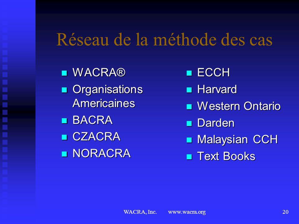 WACRA, Inc. www.wacra.org19 WACRA® cest bien plus encore… cest découvrir la culture, lhistoire et la vie sociale du pays hôte cest découvrir la cultur