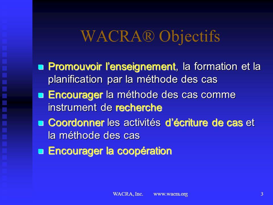 WACRA, Inc. www.wacra.org2 WACRA en quelques mots® Les objectifs Les objectifs Les activitiés Les activitiés Les congrès Les congrès congrès ant. cong