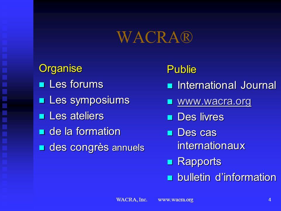 WACRA, Inc. www.wacra.org3 WACRA® Objectifs Promouvoir lenseignement, la formation et la planification par la méthode des cas Promouvoir lenseignement