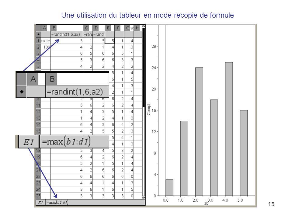 15 Une utilisation du tableur en mode recopie de formule