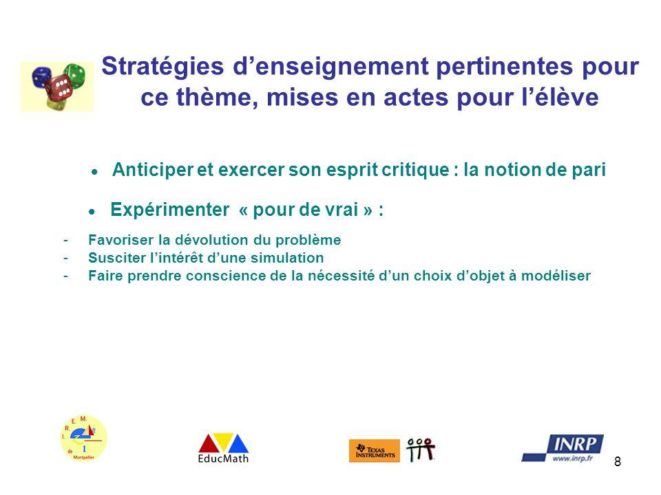 8 Stratégies denseignement pertinentes pour ce thème, mises en actes pour lélève Anticiper et exercer son esprit critique : la notion de pari Expérime