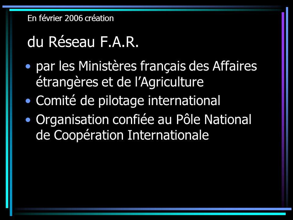 En février 2006 création du Réseau F.A.R. par les Ministères français des Affaires étrangères et de lAgriculture Comité de pilotage international Orga