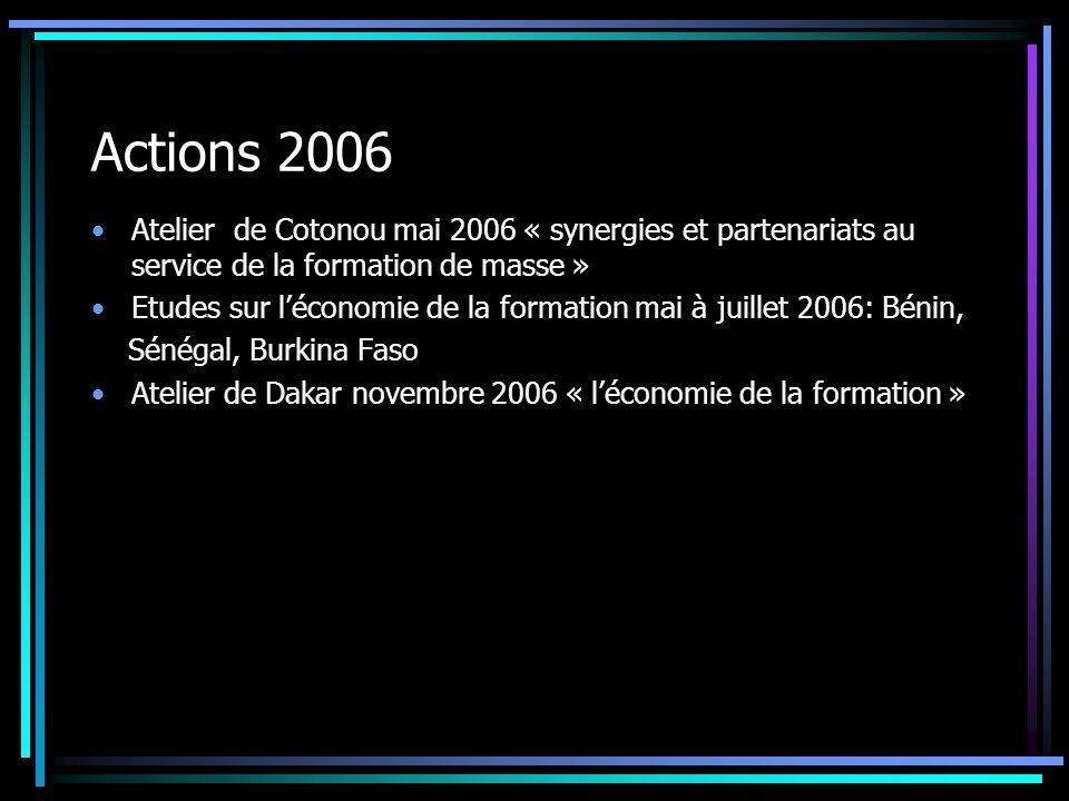 Actions 2006 Atelier de Cotonou mai 2006 « synergies et partenariats au service de la formation de masse » Etudes sur léconomie de la formation mai à