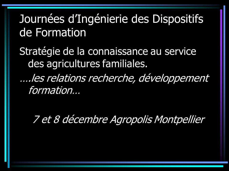 Journées dIngénierie des Dispositifs de Formation Stratégie de la connaissance au service des agricultures familiales. ….les relations recherche, déve