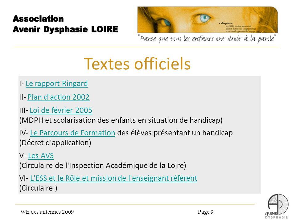 WE des antennes 2009Page 9 I- Le rapport RingardLe rapport Ringard II- Plan d'action 2002Plan d'action 2002 III- Loi de février 2005 (MDPH et scolaris