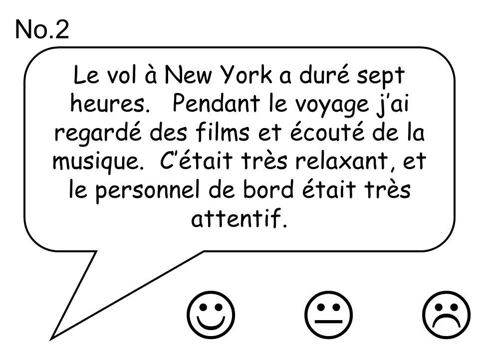 Le vol à New York a duré sept heures. Pendant le voyage jai regardé des films et écouté de la musique. Cétait très relaxant, et le personnel de bord é