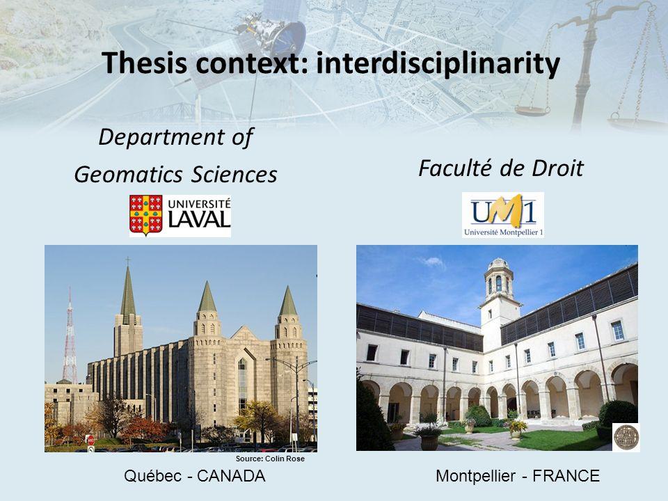 Thesis context: interdisciplinarity Faculté de Droit Department of Geomatics Sciences Source: Colin Rose Québec - CANADAMontpellier - FRANCE