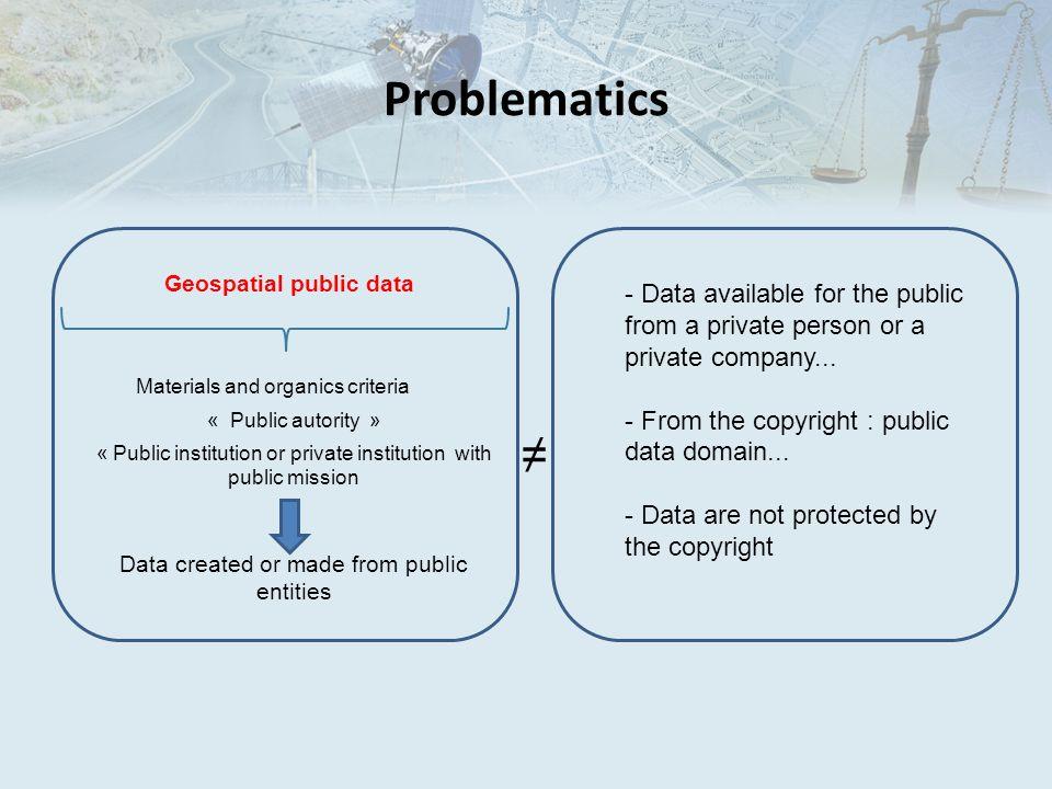 Problematics Geospatial public data Materials and organics criteria « Public autority » « Public institution or private institution with public missio