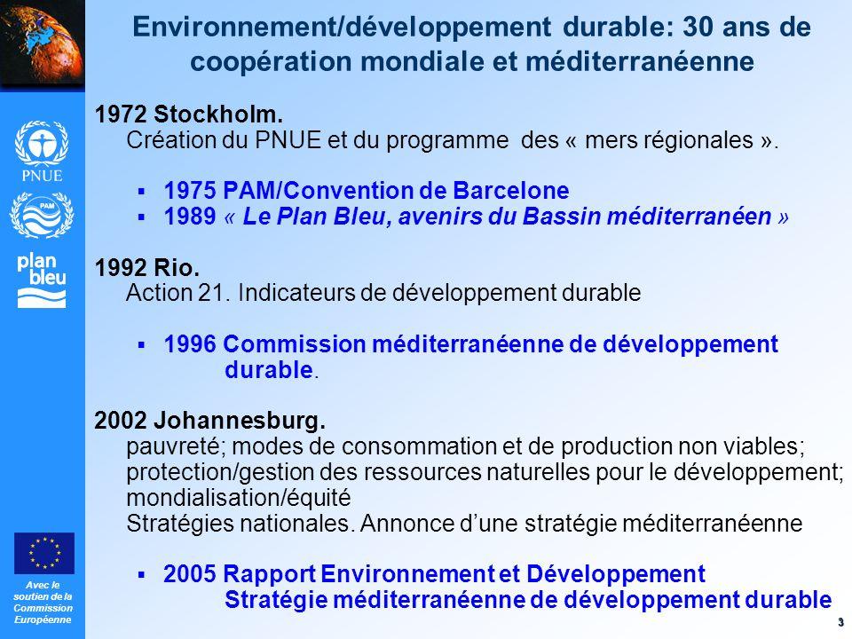 Avec le soutien de la Commission Européenne 3 Environnement/développement durable: 30 ans de coopération mondiale et méditerranéenne 1972 Stockholm. C