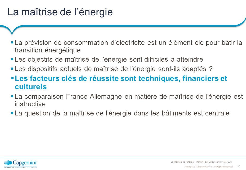 15 Copyright © Capgemini 2012. All Rights Reserved La maîtrise de lénergie – Institut Paul Delouvrier | 27 Mai 2013 La maîtrise de lénergie La prévisi