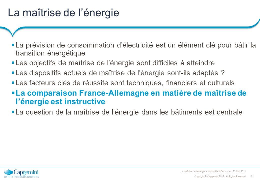 21 Copyright © Capgemini 2012. All Rights Reserved La maîtrise de lénergie – Institut Paul Delouvrier | 27 Mai 2013 La maîtrise de lénergie La prévisi