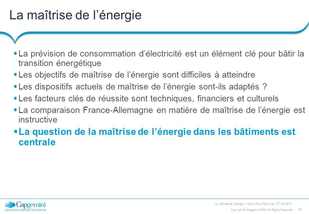 25 Copyright © Capgemini 2012. All Rights Reserved La maîtrise de lénergie – Institut Paul Delouvrier | 27 Mai 2013 La maîtrise de lénergie La prévisi