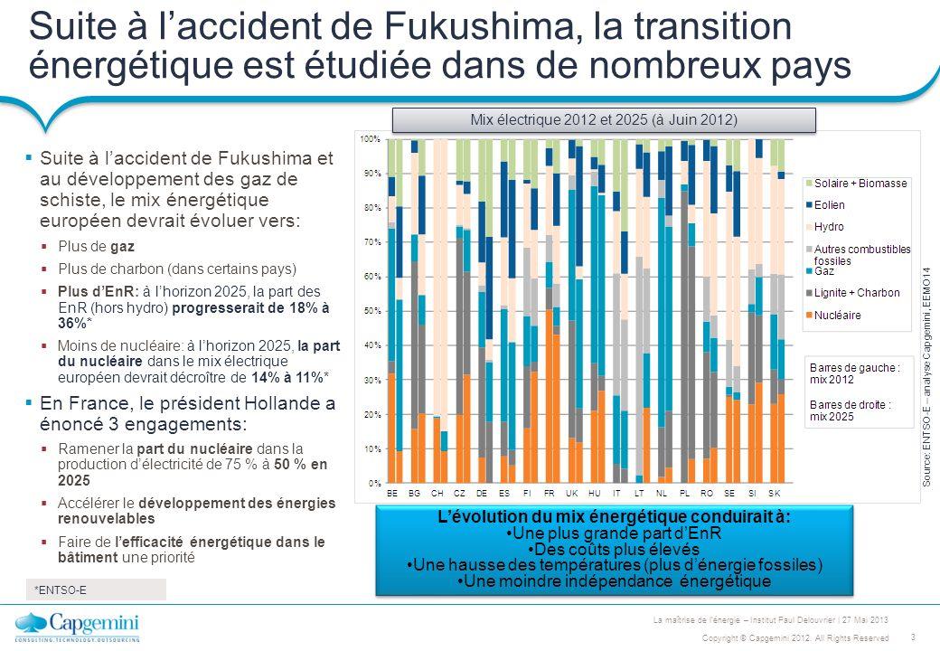 3 Copyright © Capgemini 2012. All Rights Reserved La maîtrise de lénergie – Institut Paul Delouvrier | 27 Mai 2013 Suite à laccident de Fukushima, la