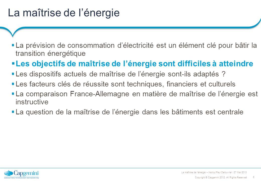 6 Copyright © Capgemini 2012. All Rights Reserved La maîtrise de lénergie – Institut Paul Delouvrier | 27 Mai 2013 La maîtrise de lénergie La prévisio