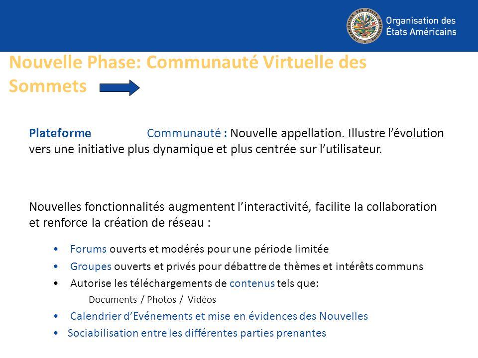 Nouvelle Phase: Communauté Virtuelle des Sommets Plateforme Communauté : Nouvelle appellation. Illustre lévolution vers une initiative plus dynamique