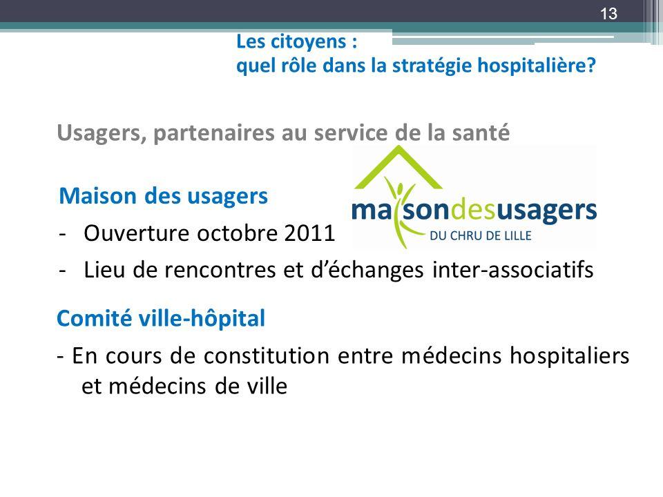 13 Usagers, partenaires au service de la santé Comité ville-hôpital - En cours de constitution entre médecins hospitaliers et médecins de ville Maison