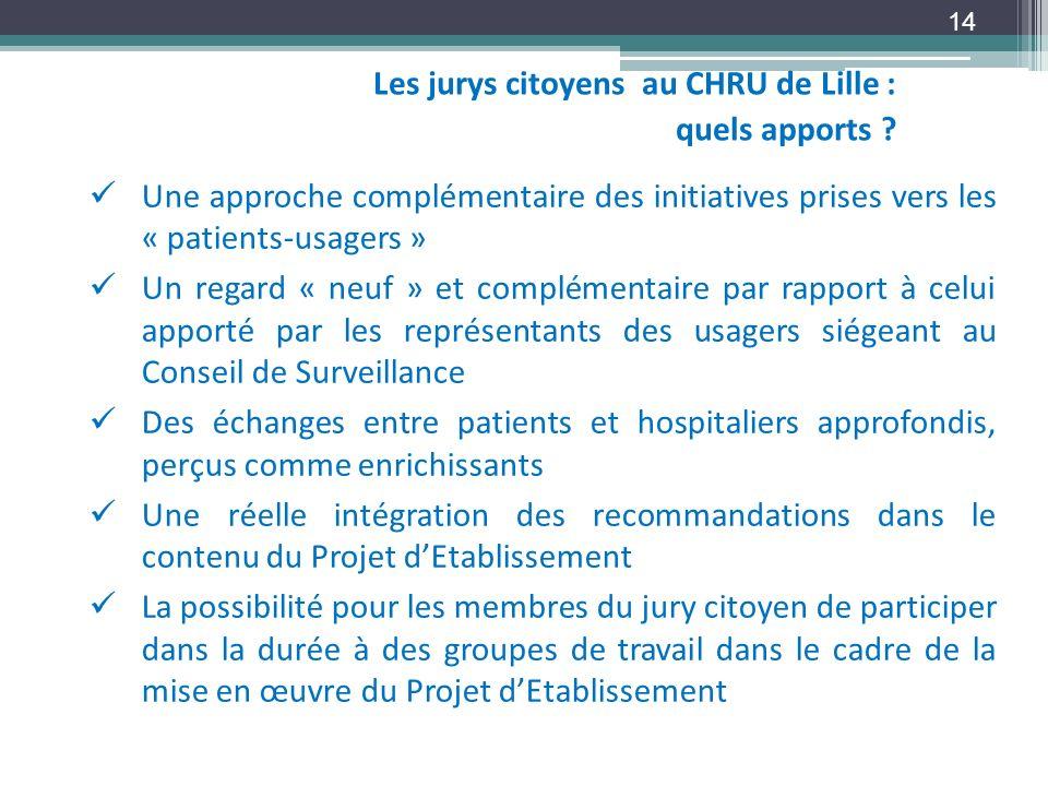 Les jurys citoyens au CHRU de Lille : quels apports ? 14 Une approche complémentaire des initiatives prises vers les « patients-usagers » Un regard «