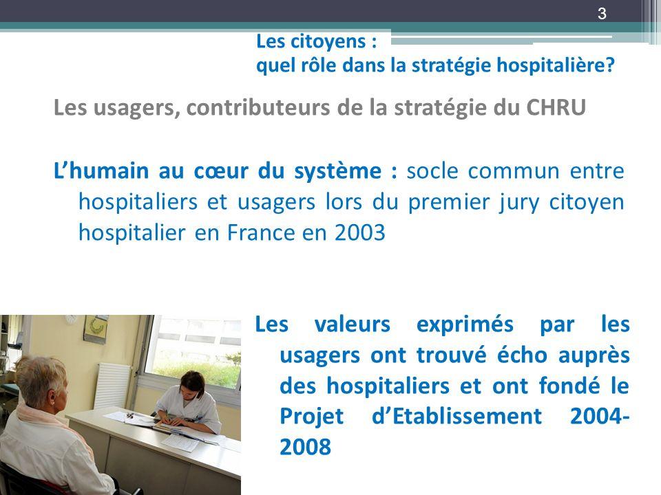Les citoyens : quel rôle dans la stratégie hospitalière? 3 Les usagers, contributeurs de la stratégie du CHRU Lhumain au cœur du système : socle commu