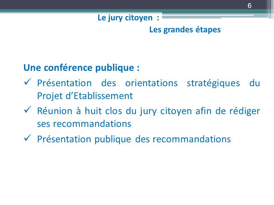 6 Une conférence publique : Présentation des orientations stratégiques du Projet dEtablissement Réunion à huit clos du jury citoyen afin de rédiger se