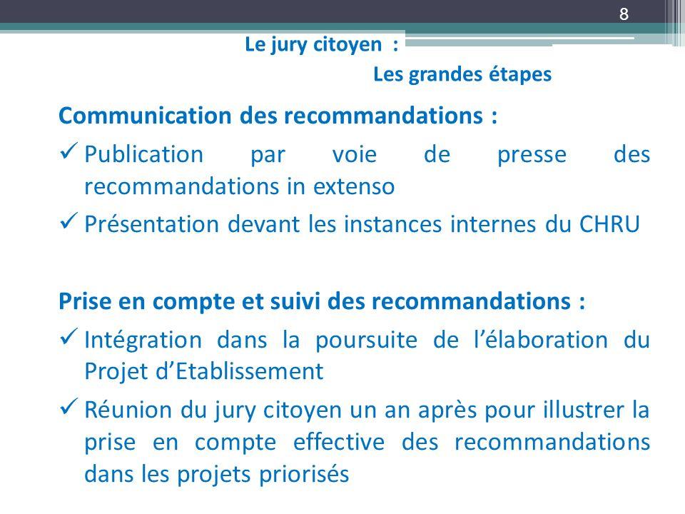 8 Communication des recommandations : Publication par voie de presse des recommandations in extenso Présentation devant les instances internes du CHRU