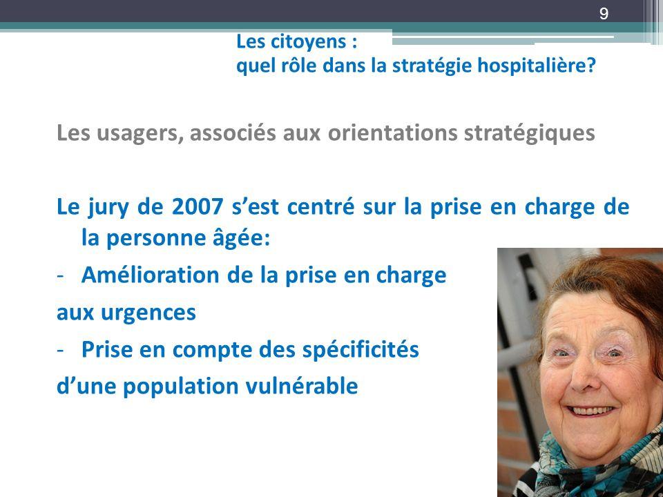 9 Les usagers, associés aux orientations stratégiques Le jury de 2007 sest centré sur la prise en charge de la personne âgée: -Amélioration de la pris