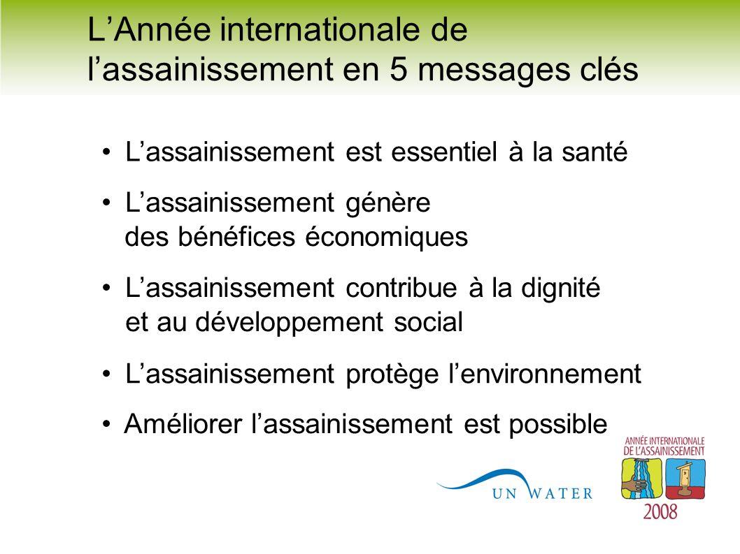 LAnnée internationale de lassainissement en 5 messages clés Lassainissement est essentiel à la santé Améliorer lassainissement est possible Lassainiss