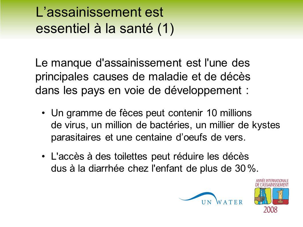 Lassainissement est essentiel à la santé (1) Le manque d'assainissement est l'une des principales causes de maladie et de décès dans les pays en voie