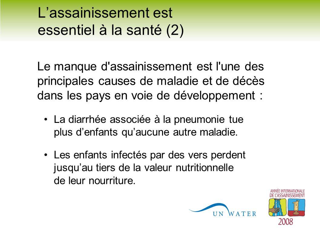 La diarrhée associée à la pneumonie tue plus denfants quaucune autre maladie. Les enfants infectés par des vers perdent jusquau tiers de la valeur nut