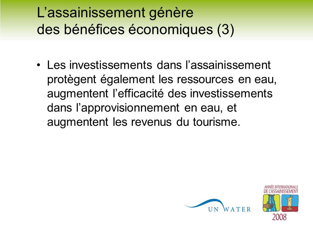 Les investissements dans lassainissement protègent également les ressources en eau, augmentent lefficacité des investissements dans lapprovisionnement