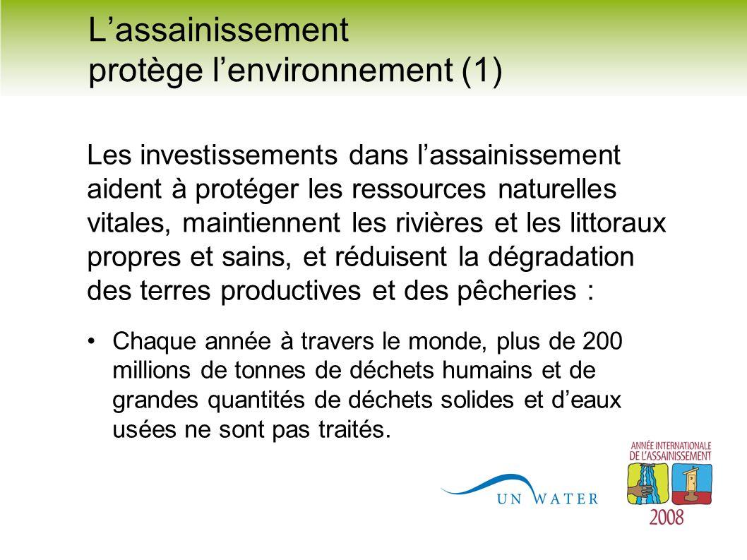 Lassainissement protège lenvironnement (1) Les investissements dans lassainissement aident à protéger les ressources naturelles vitales, maintiennent