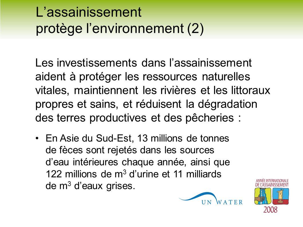 Lassainissement protège lenvironnement (2) Les investissements dans lassainissement aident à protéger les ressources naturelles vitales, maintiennent