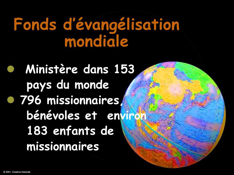 Fonds dévangélisation mondiale Ministère dans 153 pays du monde 796 missionnaires, bénévoles et environ 183 enfants de missionnaires