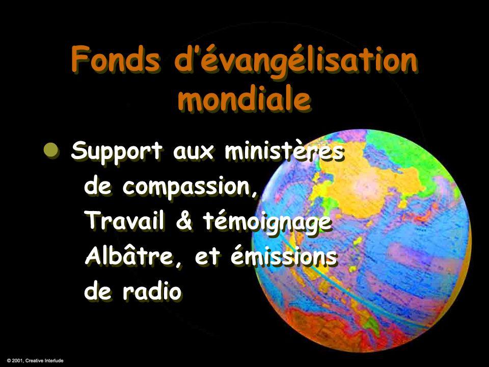 Fonds dévangélisation mondiale Support aux ministères de compassion, Travail & témoignage Albâtre, et émissions de radio Fonds dévangélisation mondial