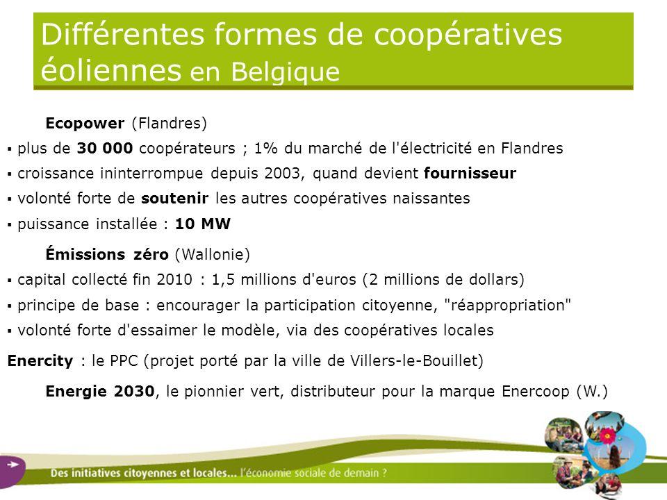 Différentes formes de coopératives éoliennes en Belgique Ecopower (Flandres) plus de 30 000 coopérateurs ; 1% du marché de l'électricité en Flandres c