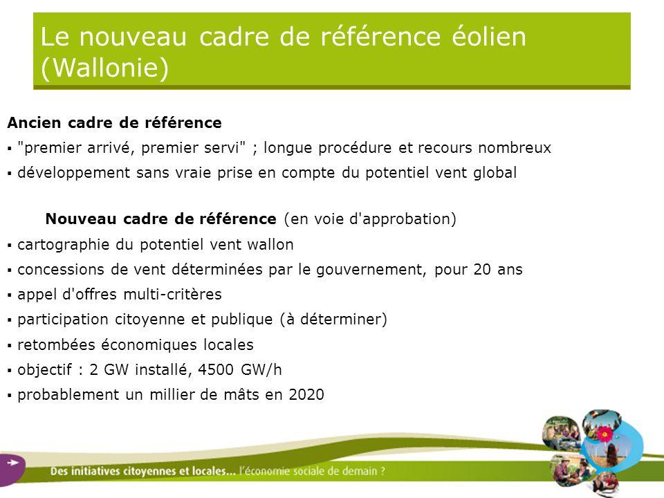 Le nouveau cadre de référence éolien (Wallonie) Ancien cadre de référence