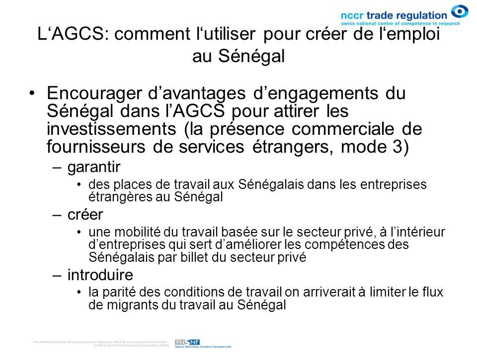 LAGCS: comment lutiliser pour créer de lemploi au Sénégal Encourager davantages dengagements du Sénégal dans lAGCS pour attirer les investissements (l