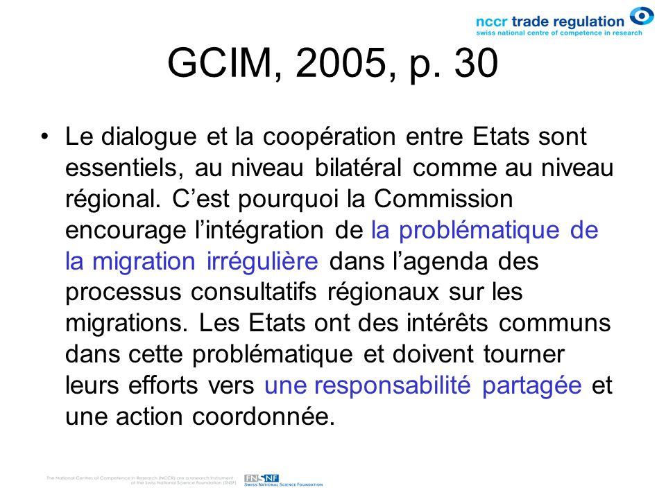 GCIM, 2005, p. 30 Le dialogue et la coopération entre Etats sont essentiels, au niveau bilatéral comme au niveau régional. Cest pourquoi la Commission