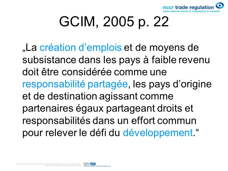 GCIM, 2005 p. 22 La création demplois et de moyens de subsistance dans les pays à faible revenu doit être considérée comme une responsabilité partagée