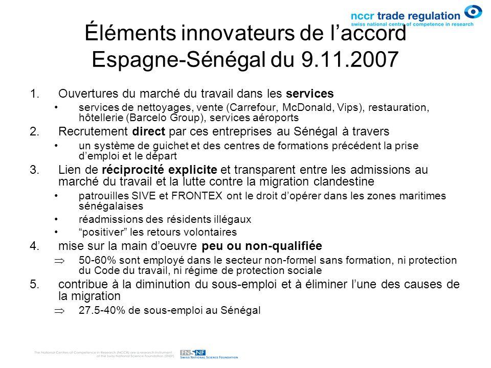 Éléments innovateurs de laccord Espagne-Sénégal du 9.11.2007 1.Ouvertures du marché du travail dans les services services de nettoyages, vente (Carref